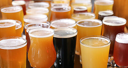 Craft beer in different glasses