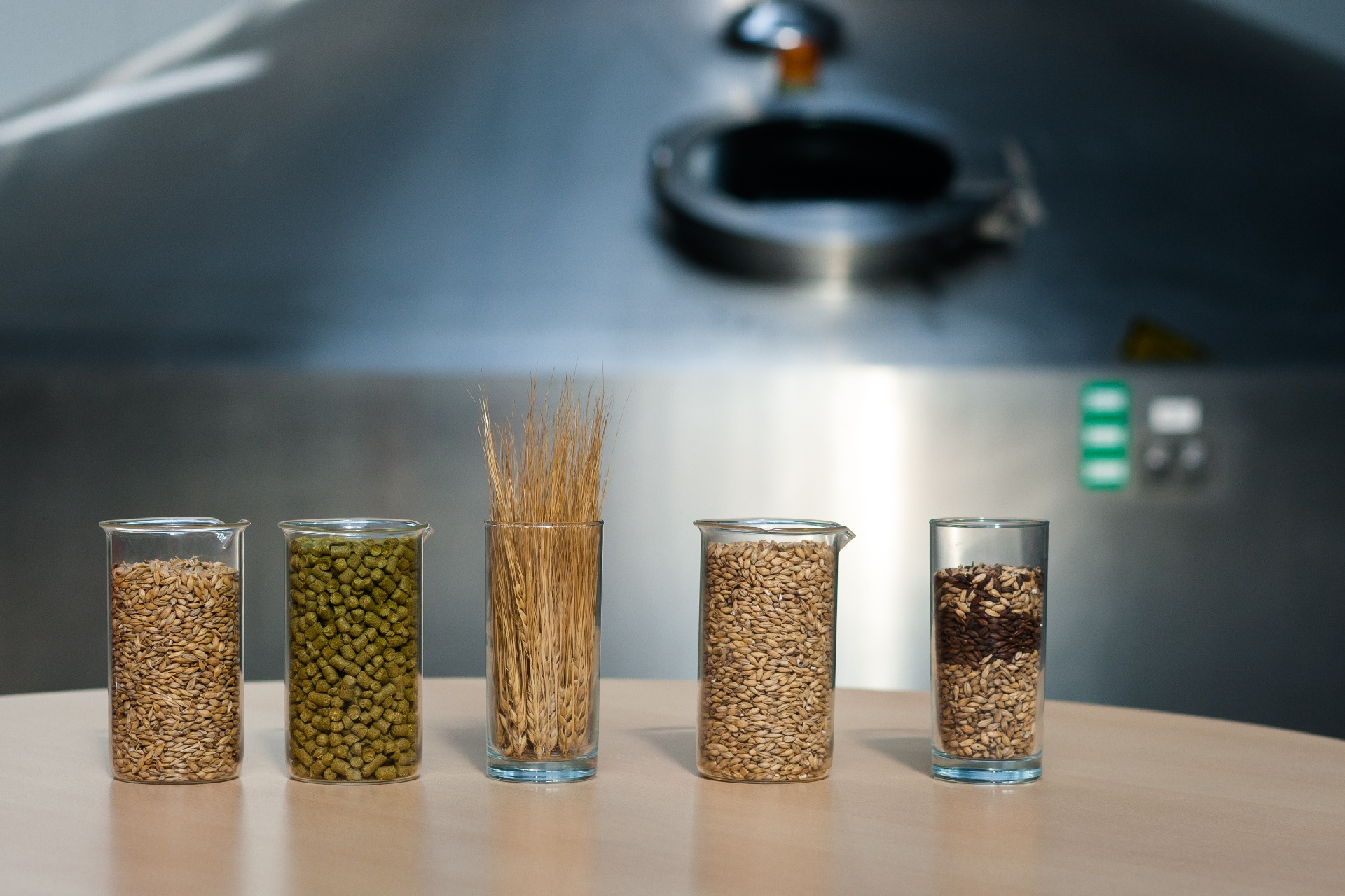 Glass containers of barley, grain, malt, rye, and wheat for beermaking