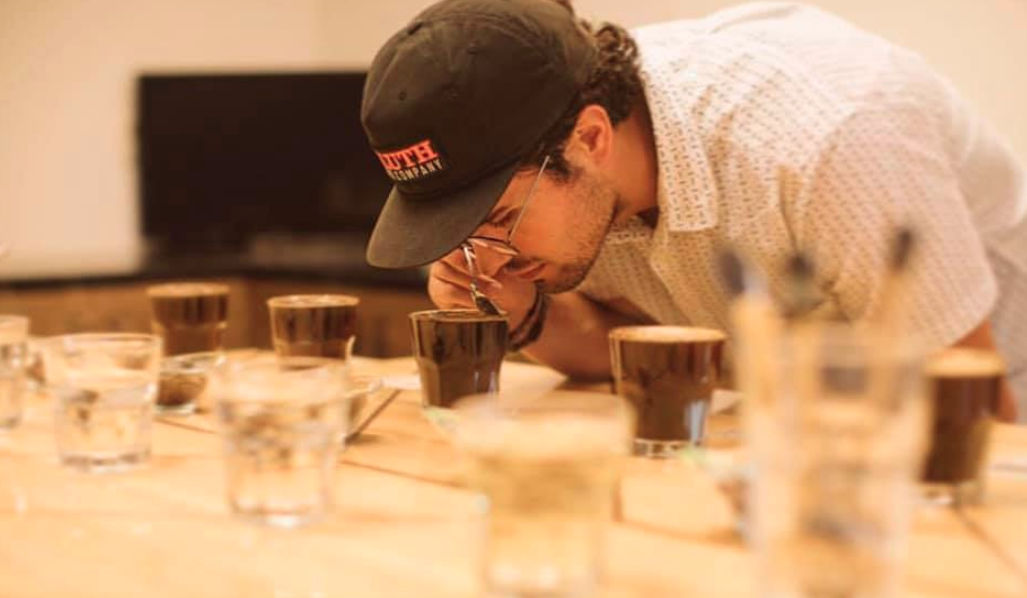 Sam Levar of Duluth Coffee Company doing a cupping